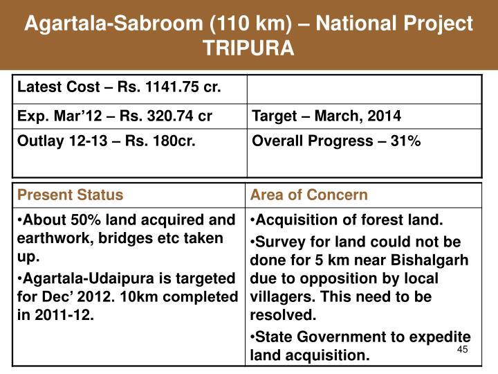 Agartala-Sabroom (110 km) – National Project TRIPURA