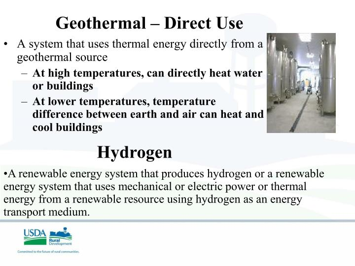 Geothermal – Direct Use