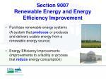 section 9007 renewable energy and energy efficiency improvement