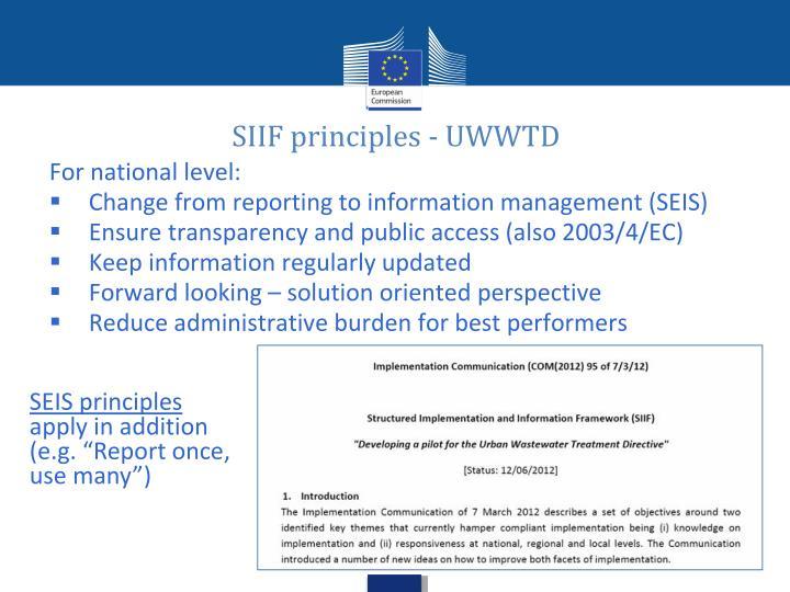 SIIF principles - UWWTD