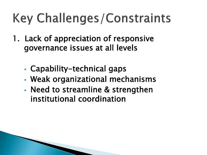 Key Challenges/Constraints