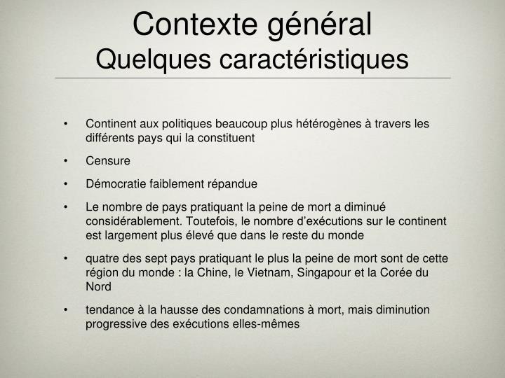 Contexte général