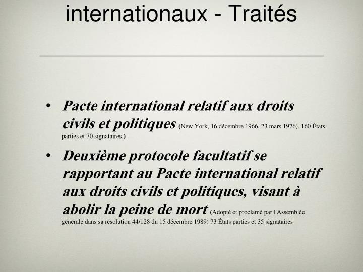 Instruments juridiques internationaux - Traités