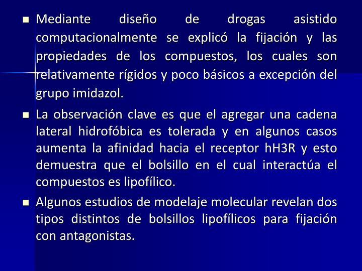 Mediante diseño de drogas asistido computacionalmente se explicó la fijación y las propiedades de los compuestos, los cuales son relativamente rígidos y poco básicos a excepción del grupo imidazol.
