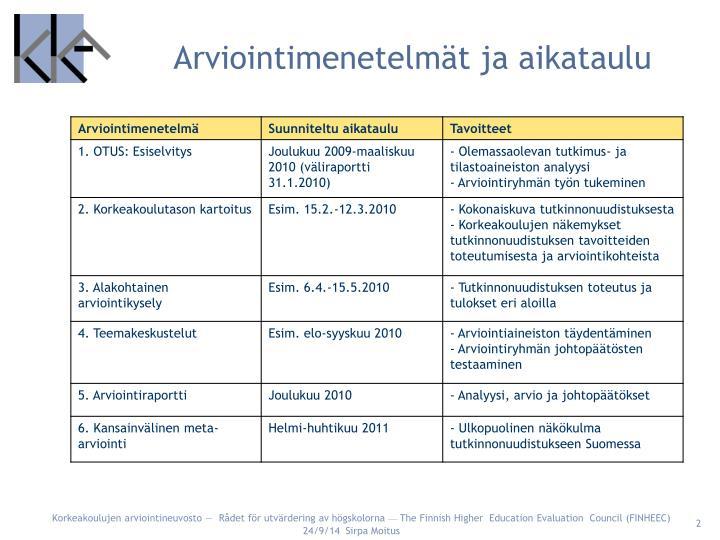Arviointimenetelmät ja aikataulu
