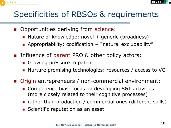 Specificities of RBSOs & requirements