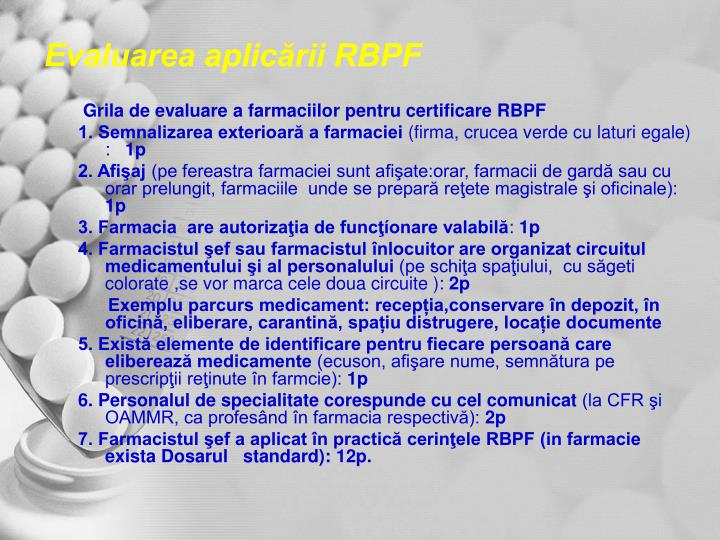 Evaluarea aplicării RBPF