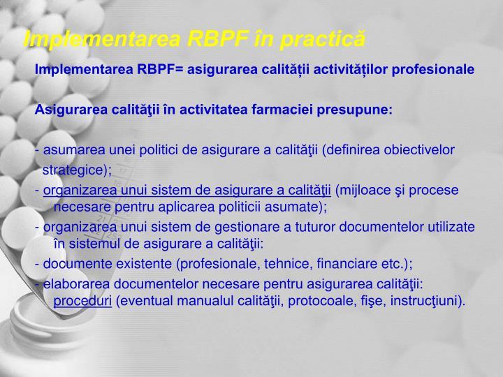 Implementarea RBPF în practică