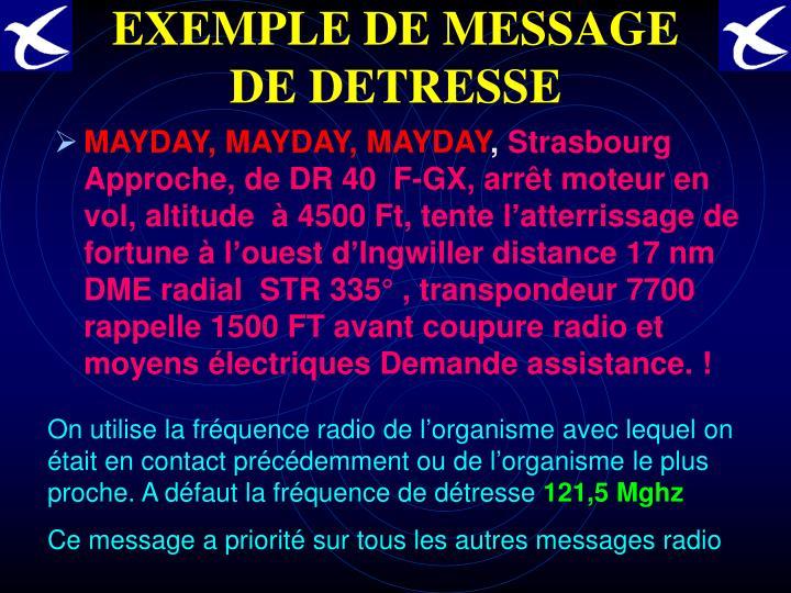 EXEMPLE DE MESSAGE DE DETRESSE