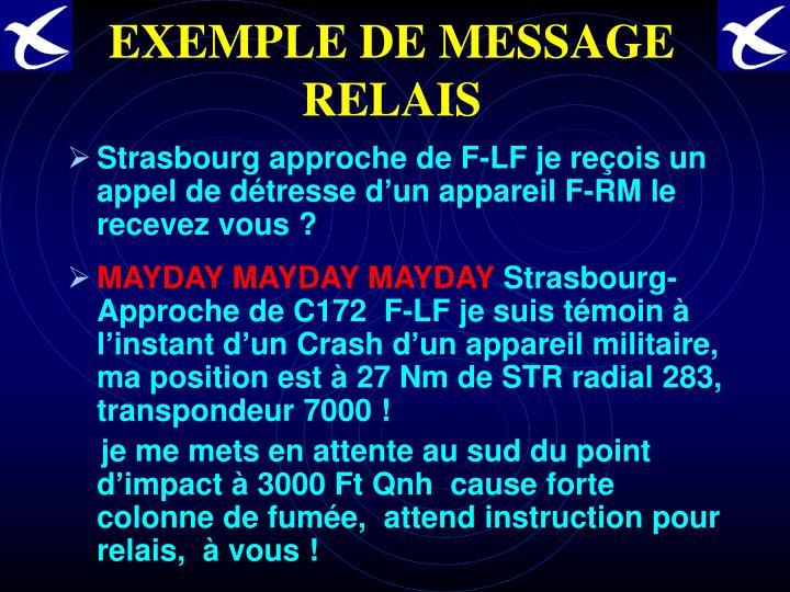 EXEMPLE DE MESSAGE RELAIS
