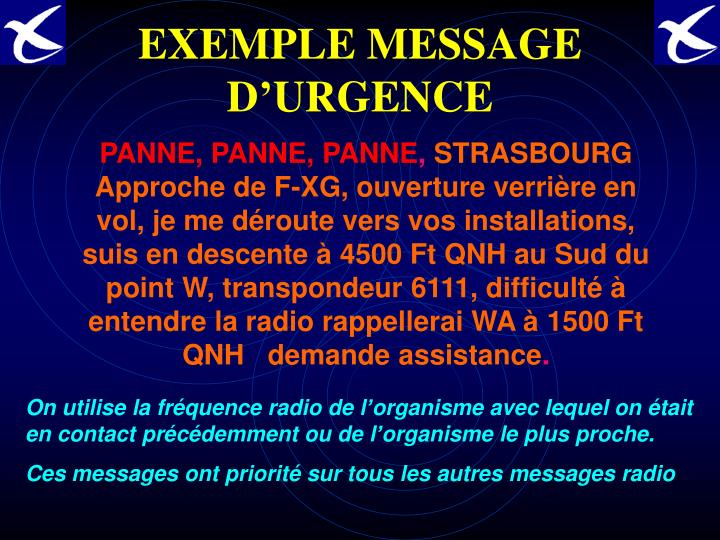 EXEMPLE MESSAGE D'URGENCE