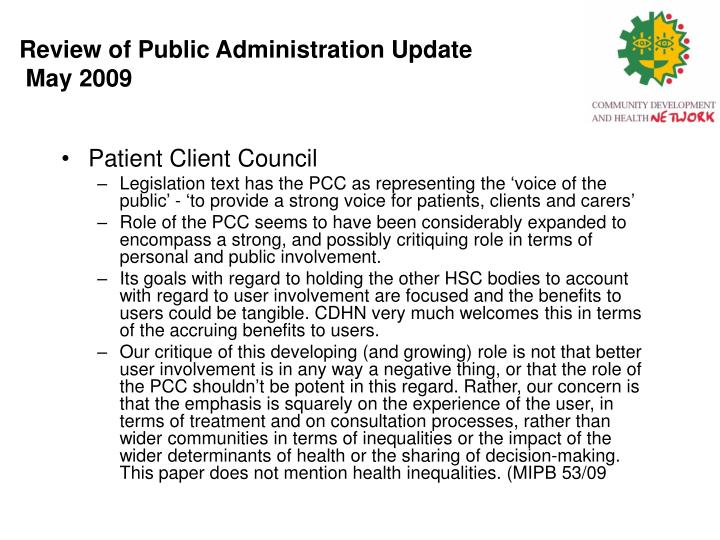 Review of Public Administration Update