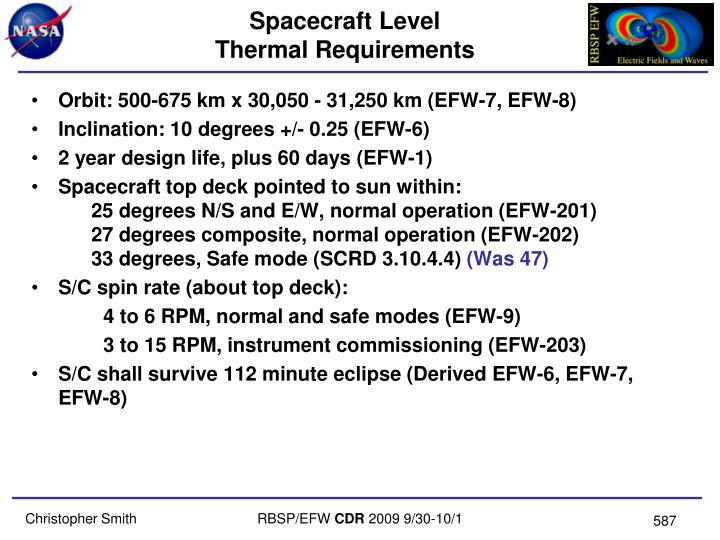 Spacecraft level thermal requirements