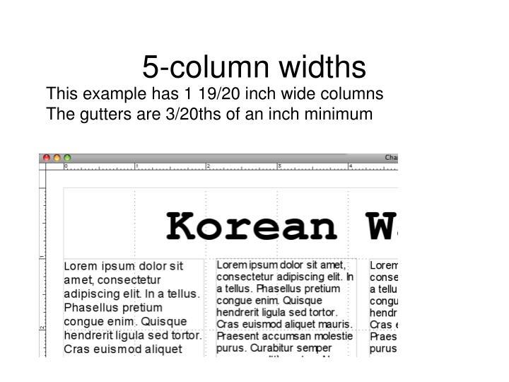 5-column widths