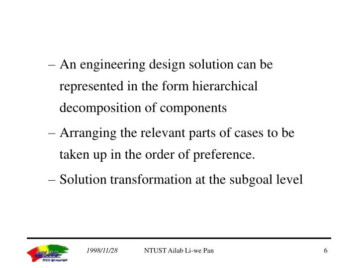 An engineering design solution can be represented in the form hierarchical decomposition of components