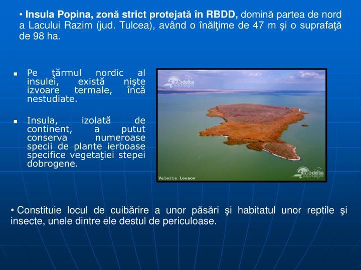 Insula Popina, zon strict protejat n RBDD,