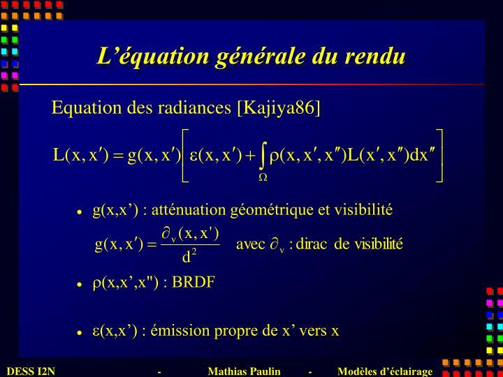 L'équation générale du rendu