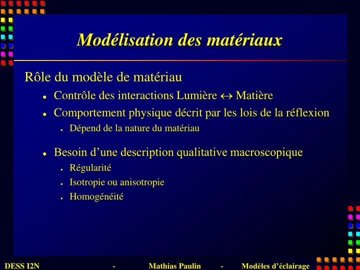 Modélisation des matériaux