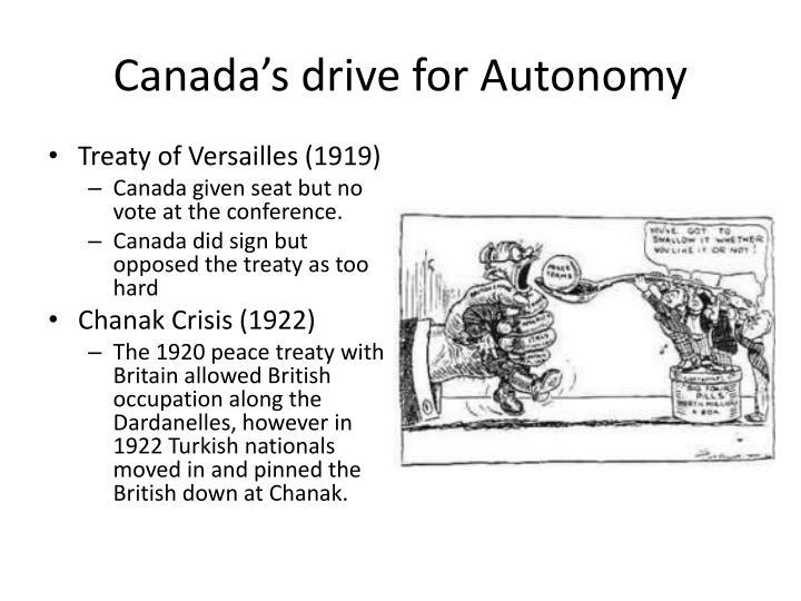 Canada's drive for Autonomy