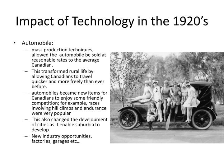 Impact of Technology in the 1920's