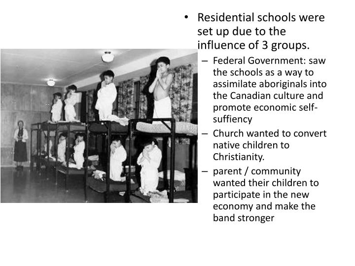 Residential schools were set up due to the influence of 3 groups.