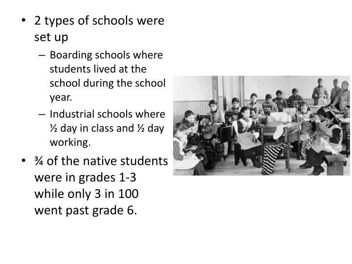 2 types of schools were set up