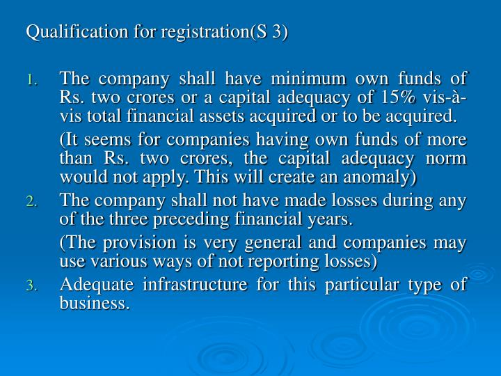 Qualification for registration(S 3)