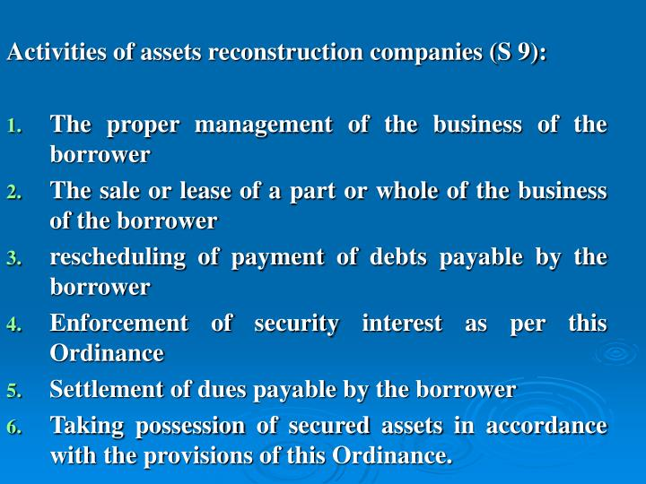 Activities of assets reconstruction companies (S 9):