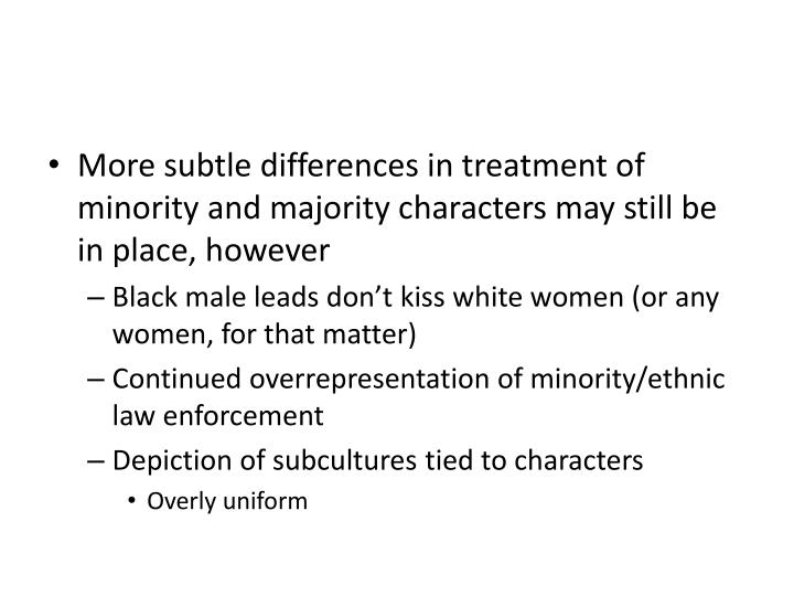 More subtle differences in treatment of minority and majority characters may still be in place, however