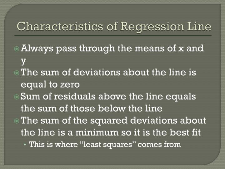 Characteristics of Regression Line