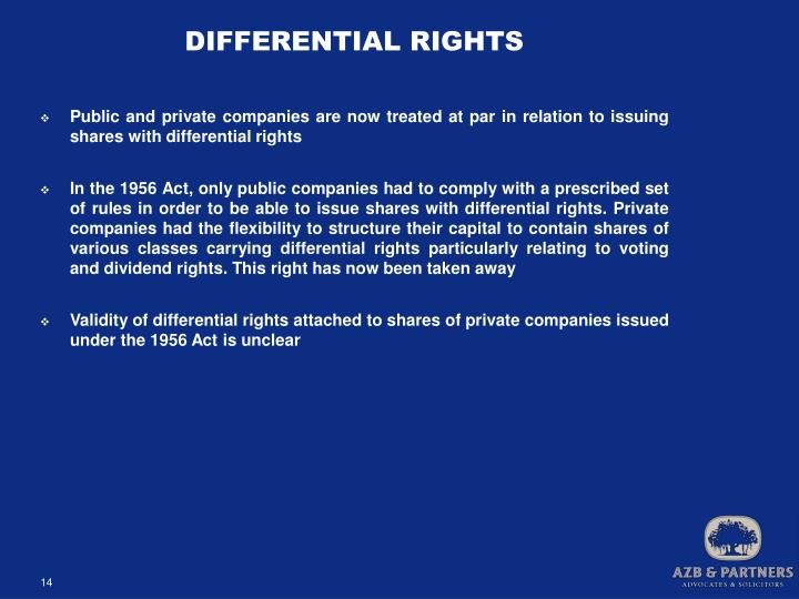 DIFFERENTIAL RIGHTS