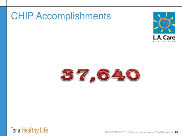 CHIP Accomplishments