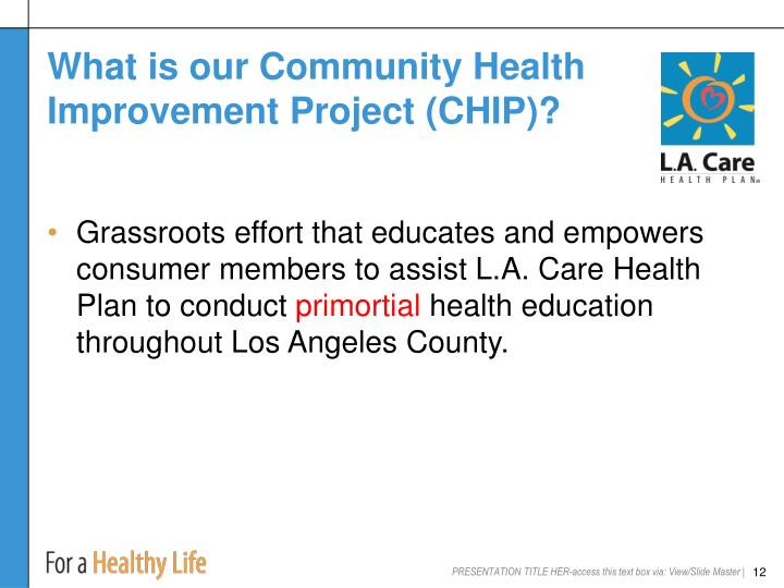 What is our Community Health Improvement Project (CHIP)?