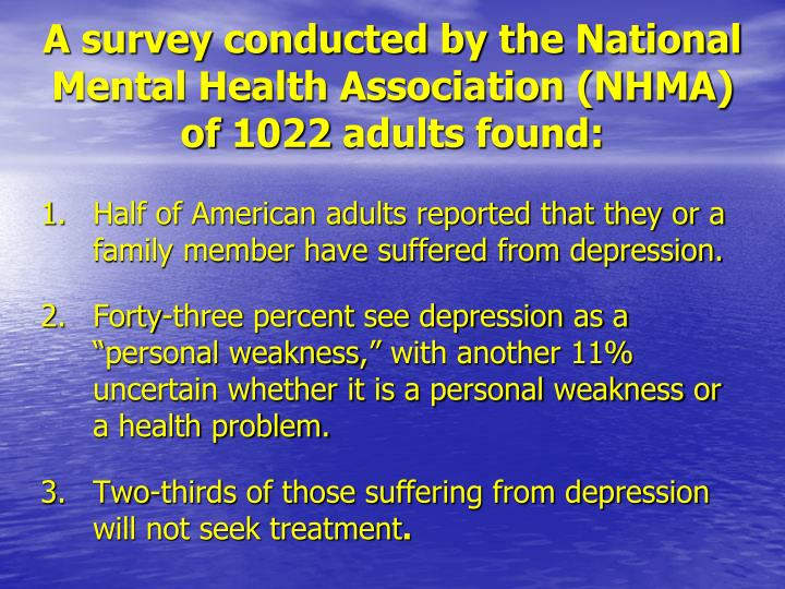 A survey conducted by the National Mental Health Association (NHMA)