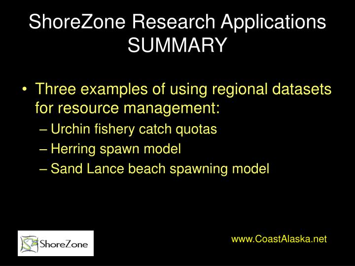 ShoreZone Research Applications