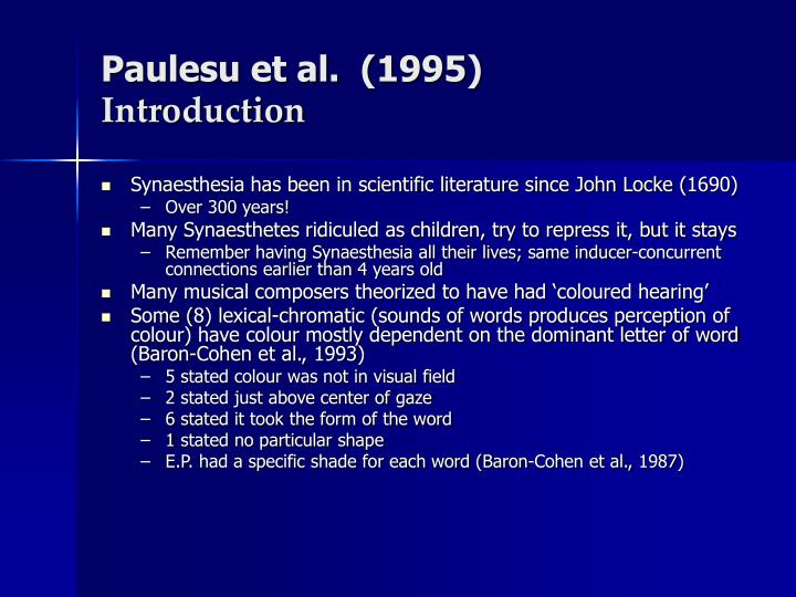 Paulesu et al 1995 introduction