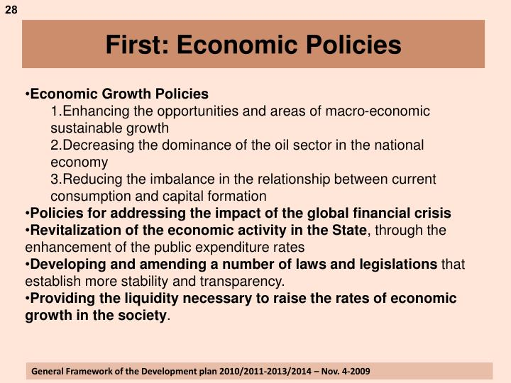 First: Economic Policies