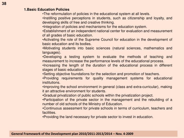Basic Education Policies