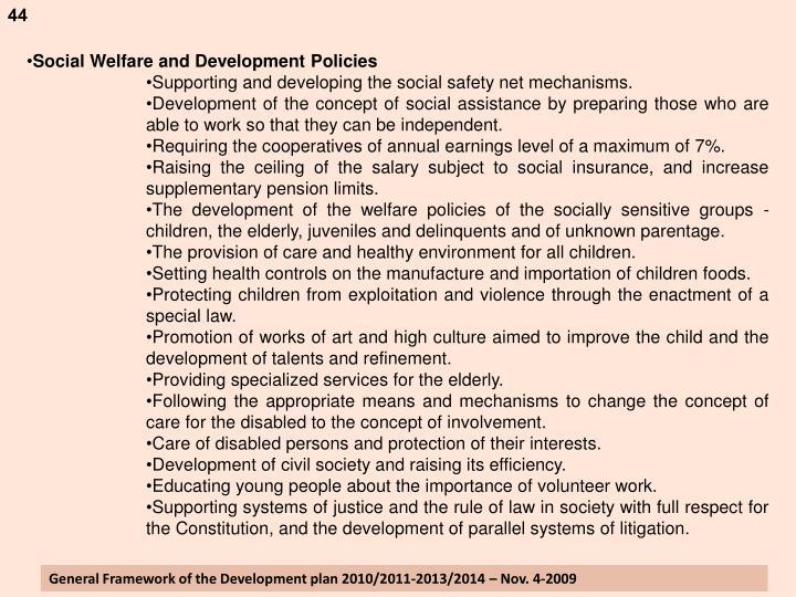 Social Welfare and Development Policies