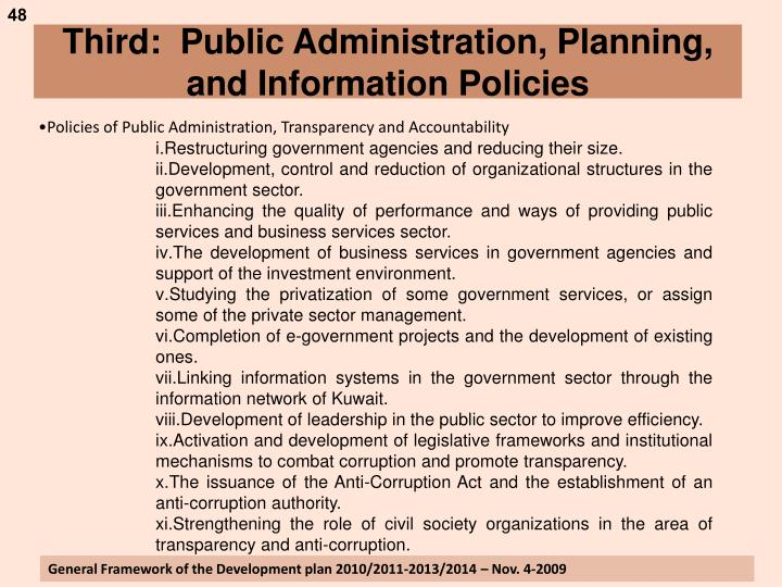 Third:  Public Administration, Planning, and Information Policies