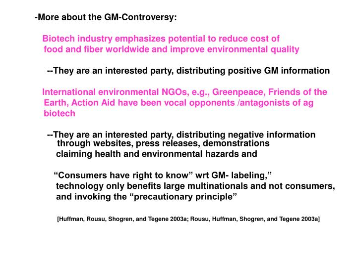 -More about the GM-Controversy: