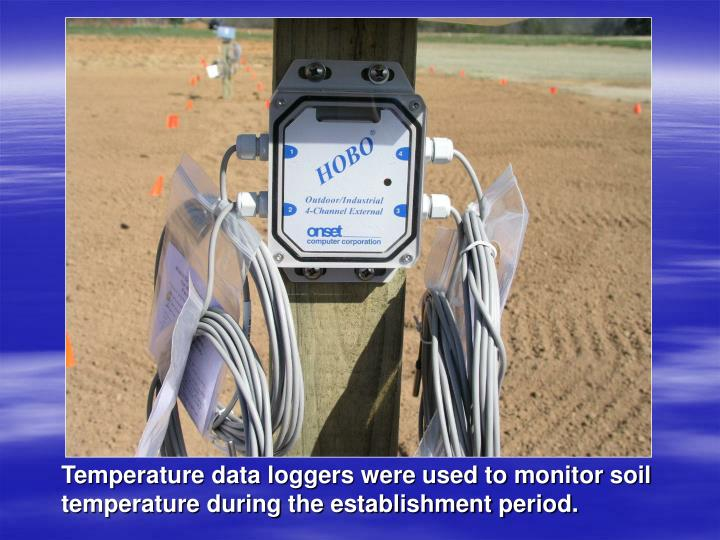 Temperature data loggers were used to monitor soil temperature during the establishment period.