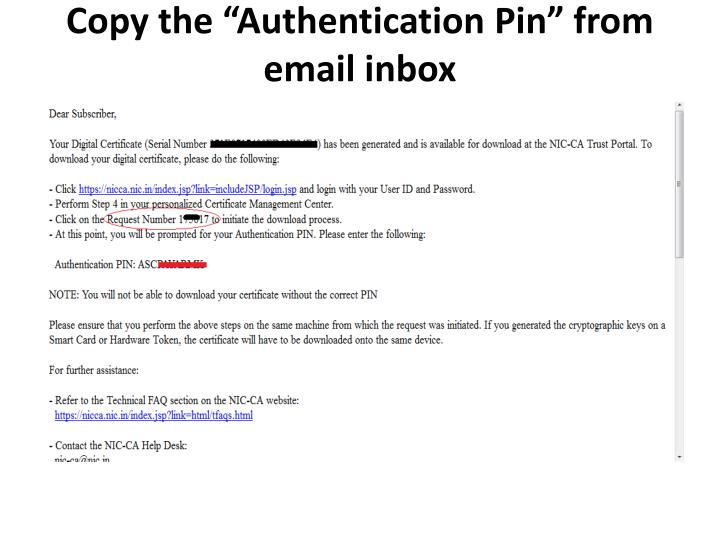 "Copy the ""Authentication Pin"" from email inbox"