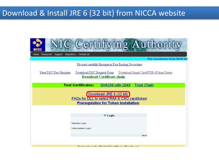 Download & Install JRE 6 (32 bit) from NICCA website