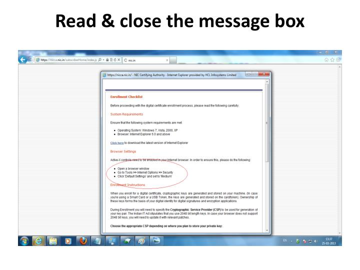Read & close the message box