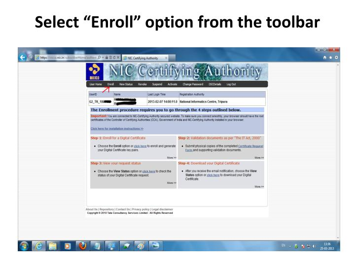 "Select ""Enroll"" option from the toolbar"
