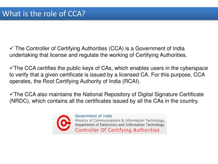 What is the role of CCA?
