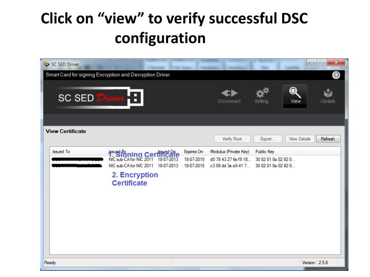 "Click on ""view"" to verify successful DSC       configuration"