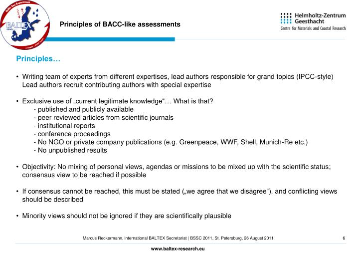 Principles of BACC-like assessments