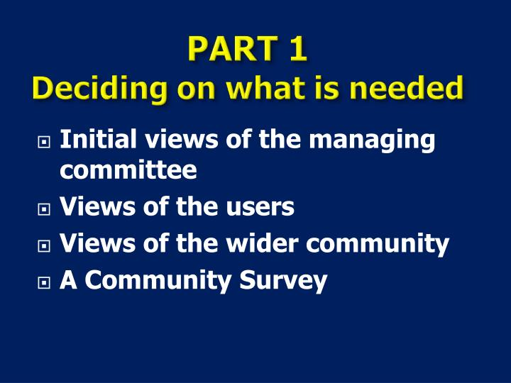 Initial views of the managing committee